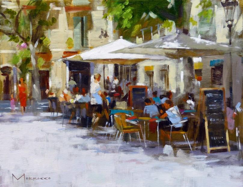 31.Jack Morrocco_Original_ Oil on Canvas_Placa de la Vila Gracia, Barcelona