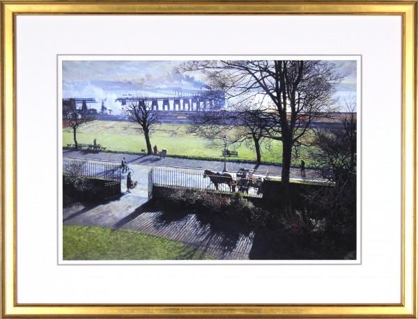 James McIntosh Patrick_The Tay Bridge from my Studio Window_Framed dark gold