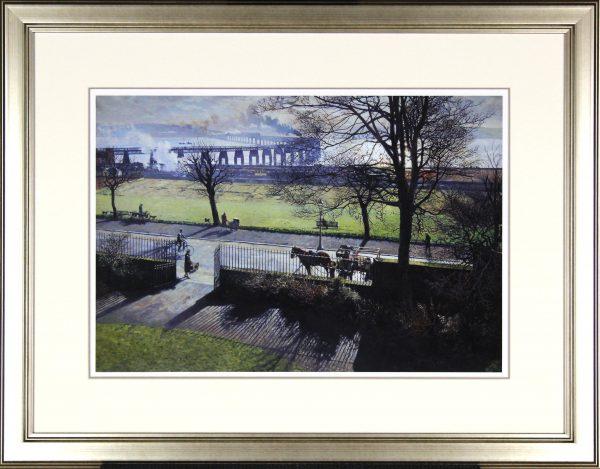 James McIntosh Patrick_The Tay Bridge from my Studio Window_Framed pale gold